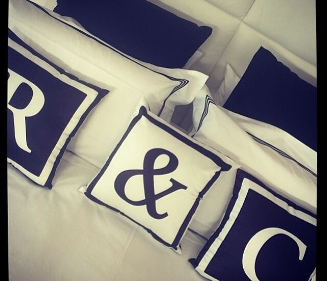 Our reversible monogram cushions styled fabulously by @saltbox_design